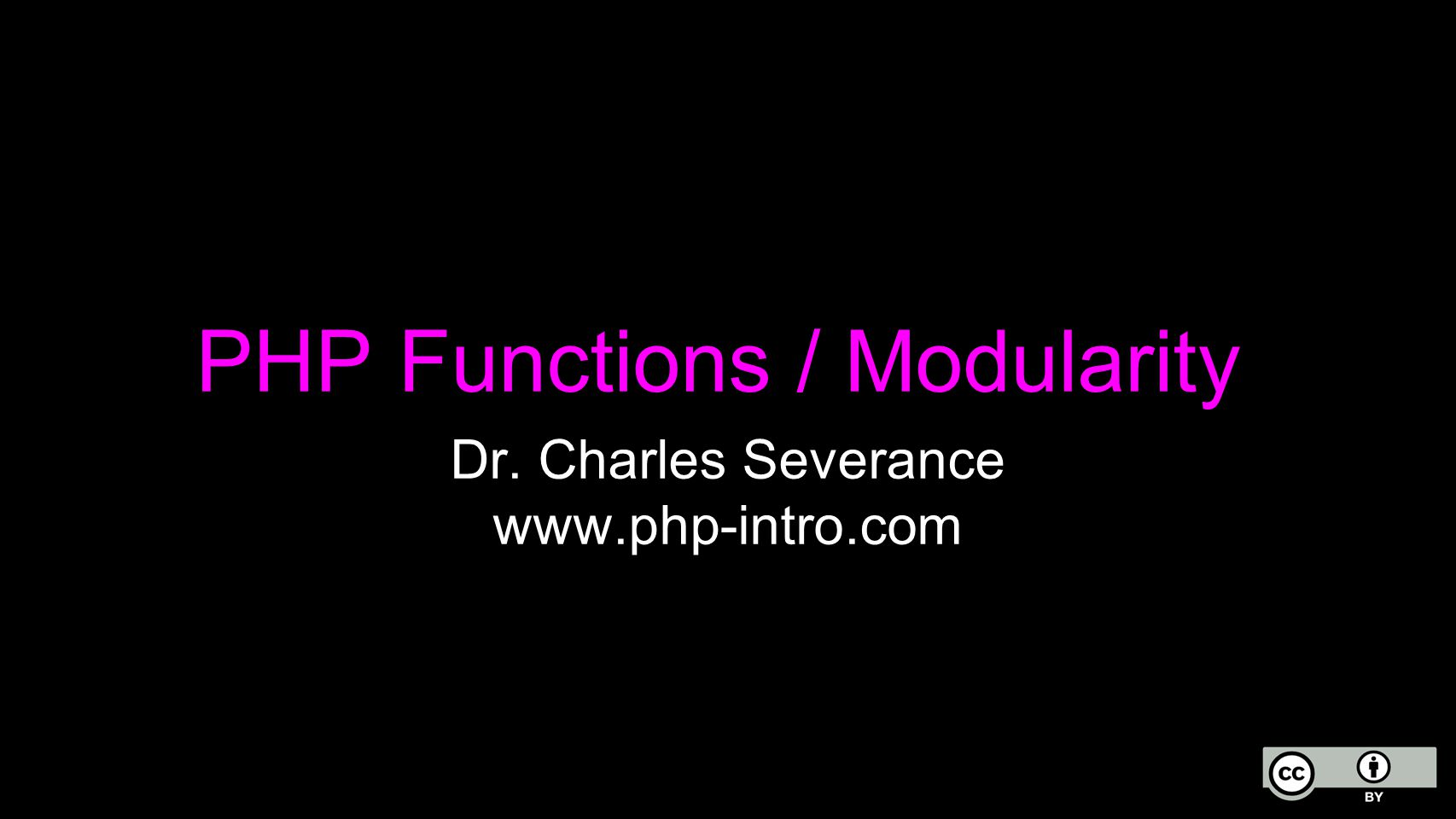 PHP Functions / Modularity