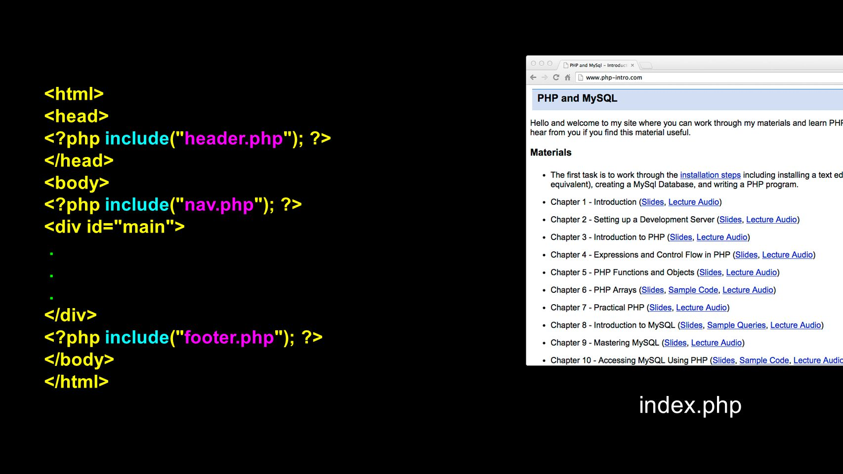 index.php <html> <head>
