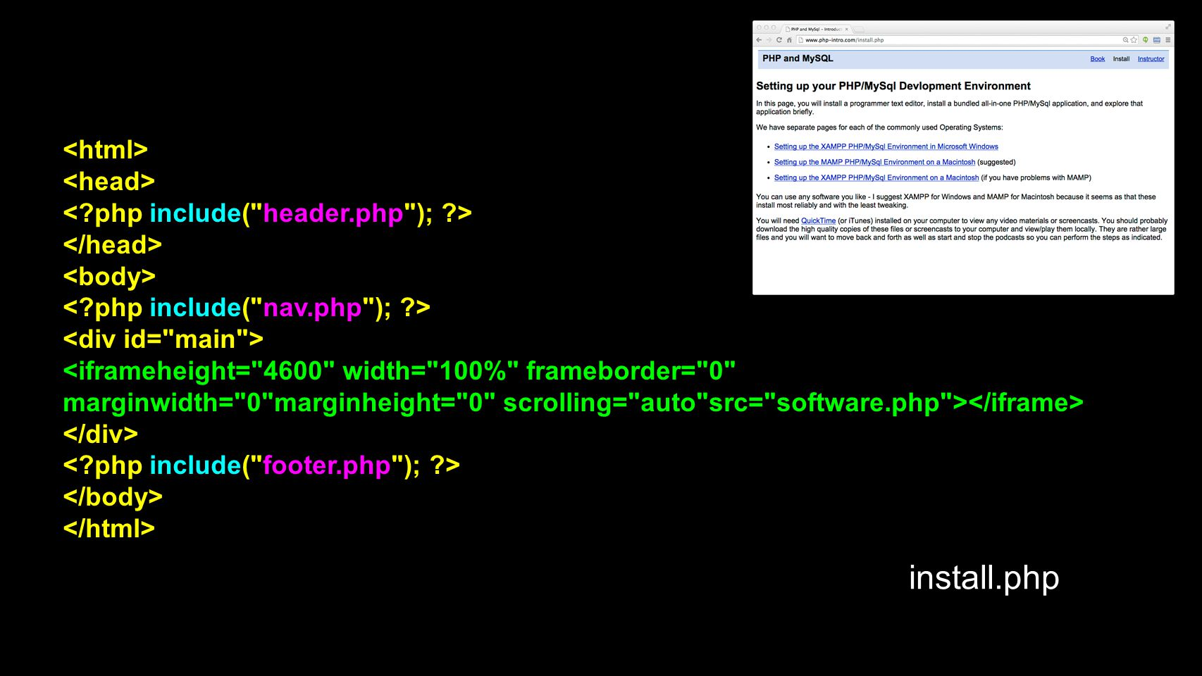 install.php <html> <head>
