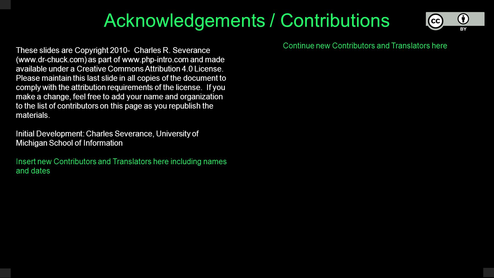 Acknowledgements / Contributions