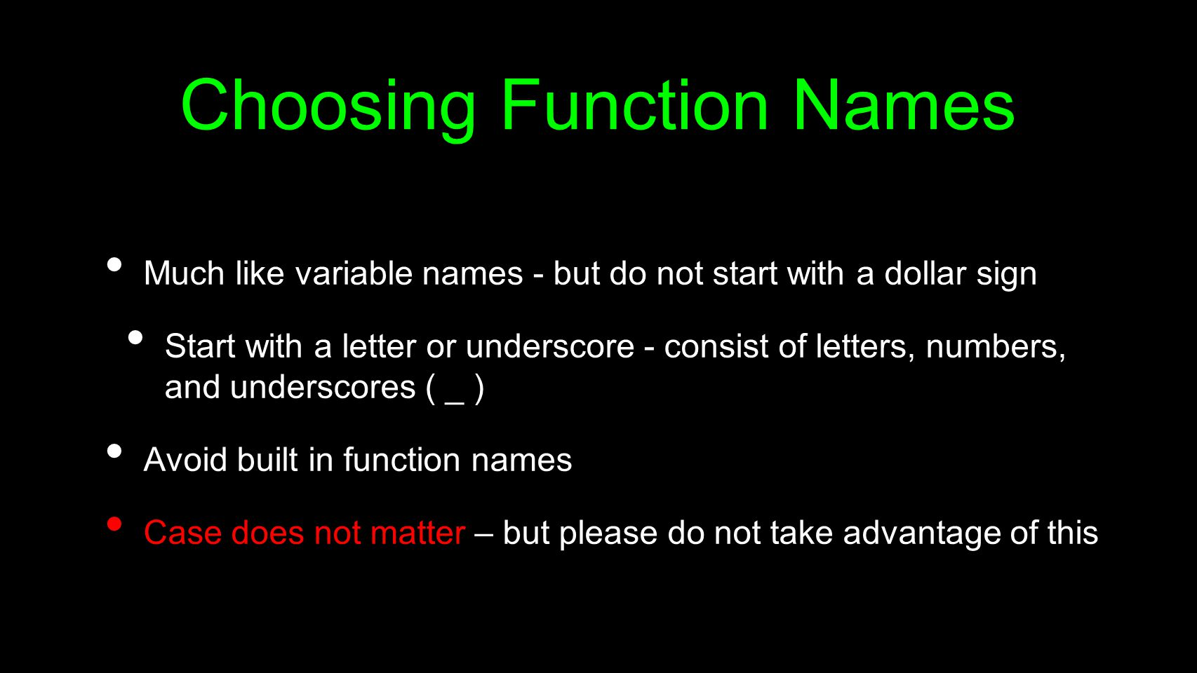 Choosing Function Names