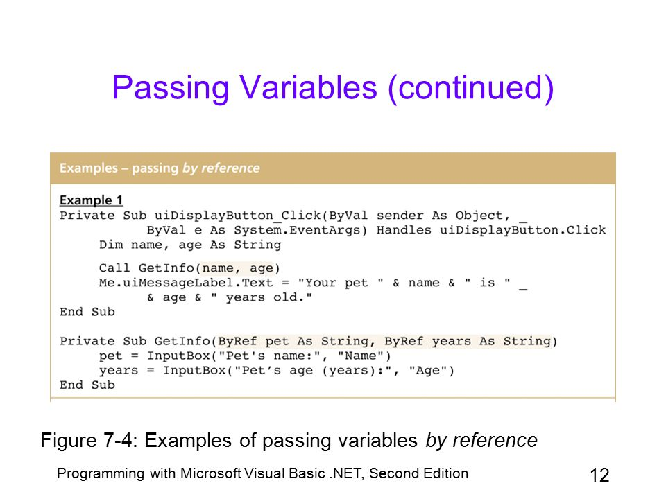 Passing Variables (continued)