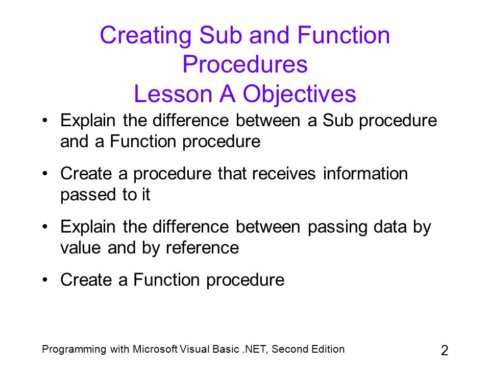 Creating Sub and Function Procedures Lesson A Objectives