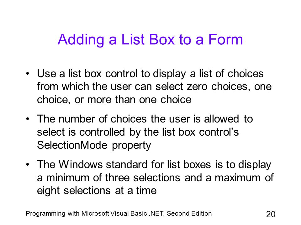 Adding a List Box to a Form