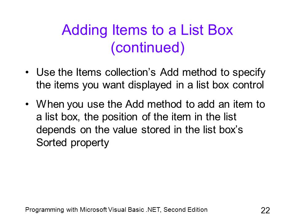 Adding Items to a List Box (continued)