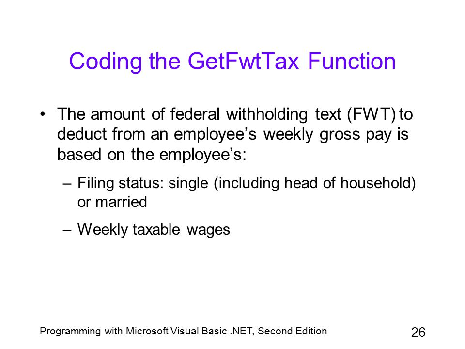 Coding the GetFwtTax Function