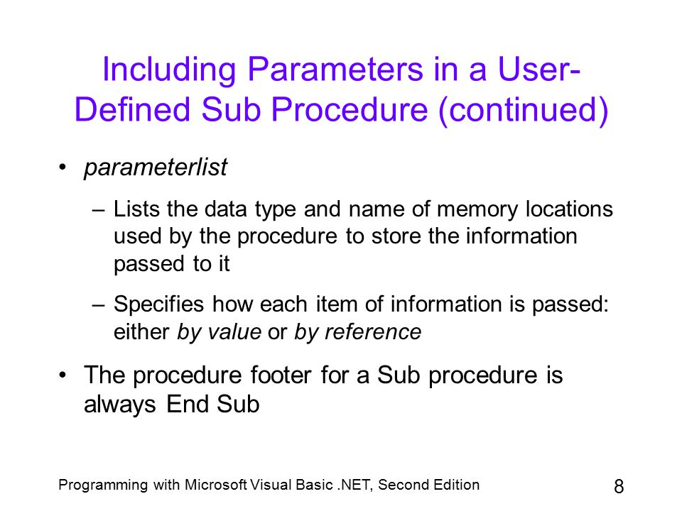 Including Parameters in a User-Defined Sub Procedure (continued)