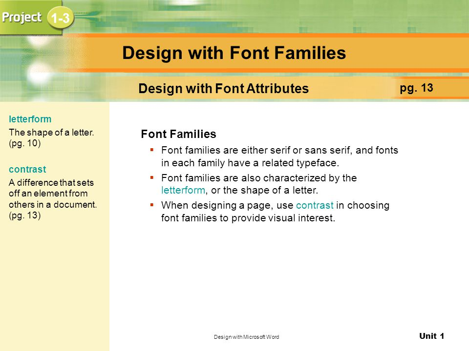 Design with Font Families
