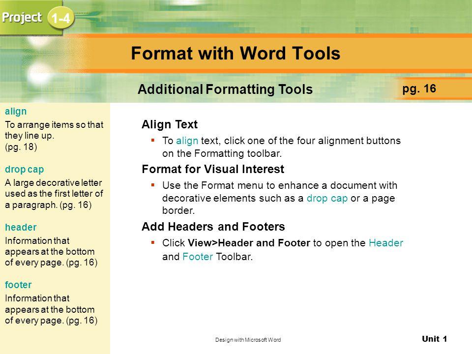 Additional Formatting Tools
