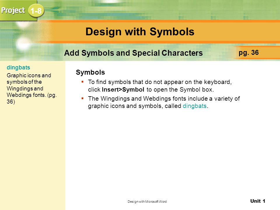 Add Symbols and Special Characters
