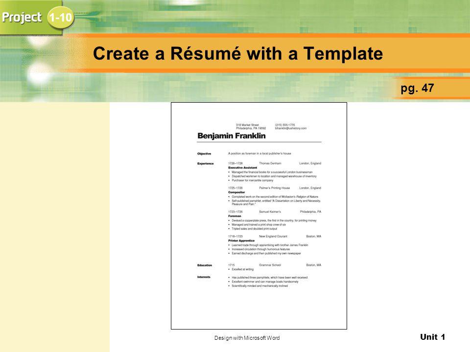 Create a Résumé with a Template