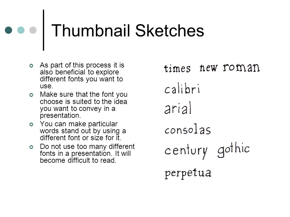 Thumbnail Sketches As part of this process it is also beneficial to explore different fonts you want to use.