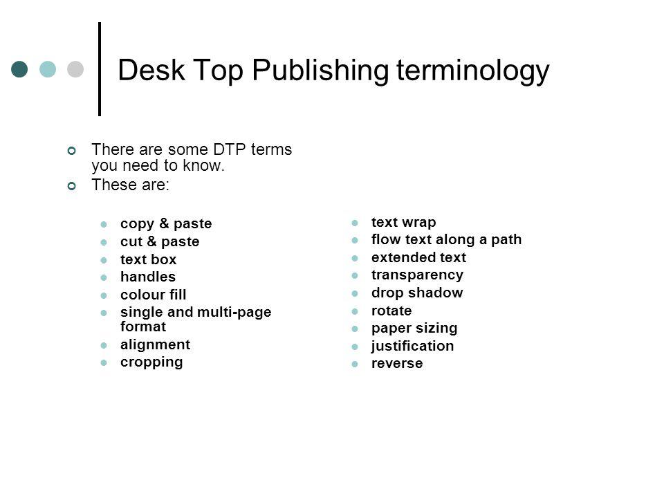 Desk Top Publishing terminology