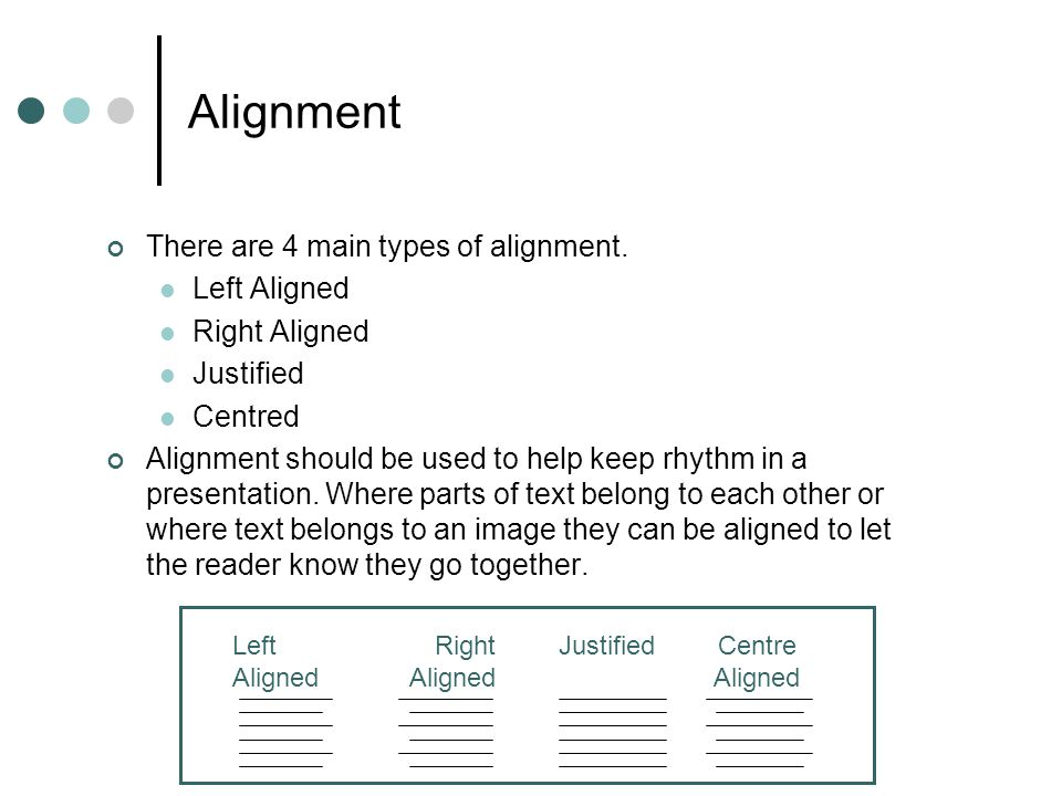 Alignment There are 4 main types of alignment. Left Aligned