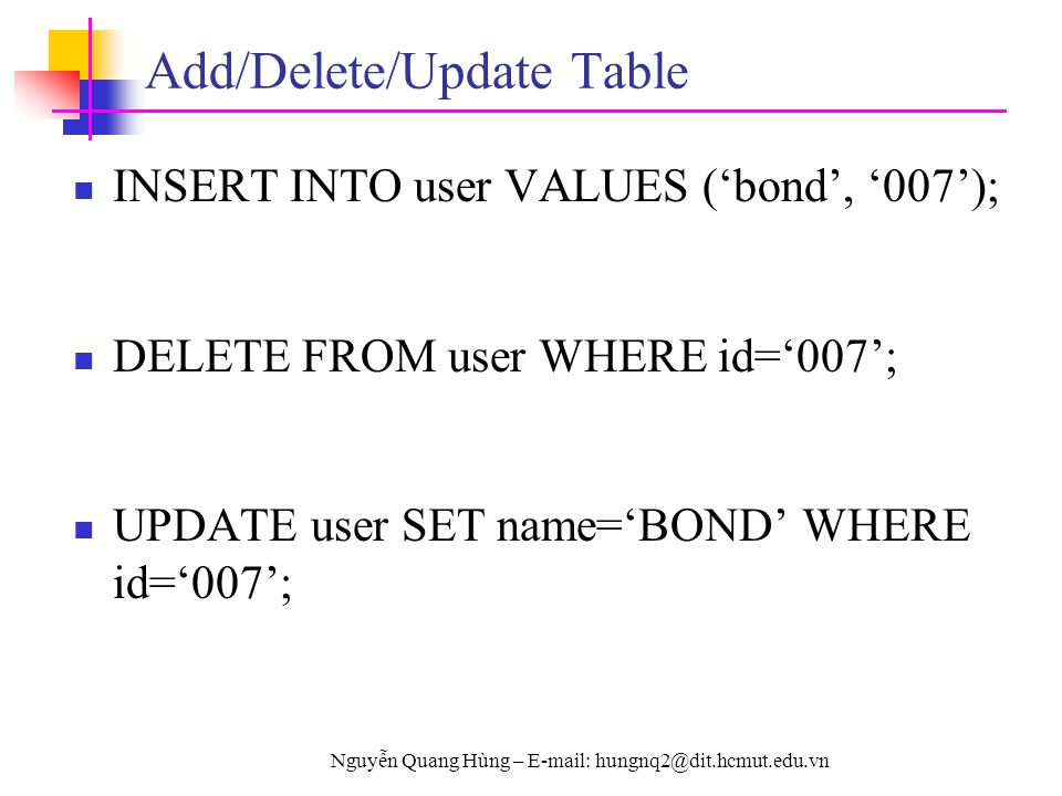 Add/Delete/Update Table