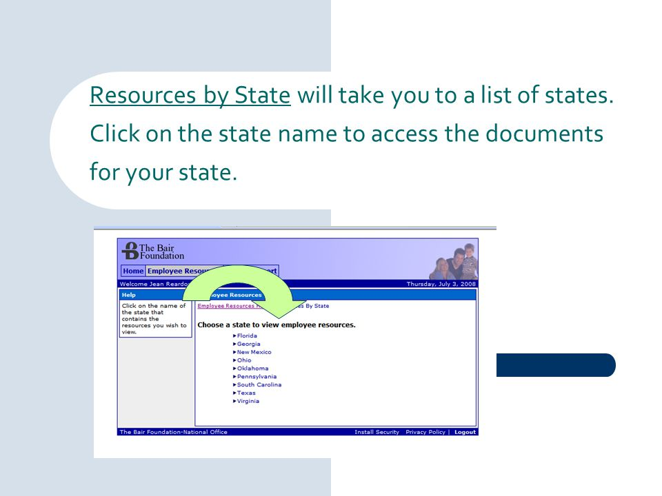 Resources by State will take you to a list of states