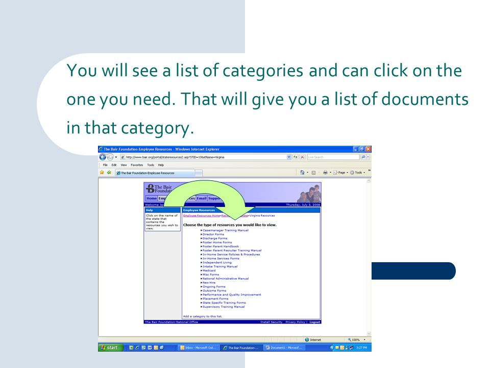 You will see a list of categories and can click on the one you need