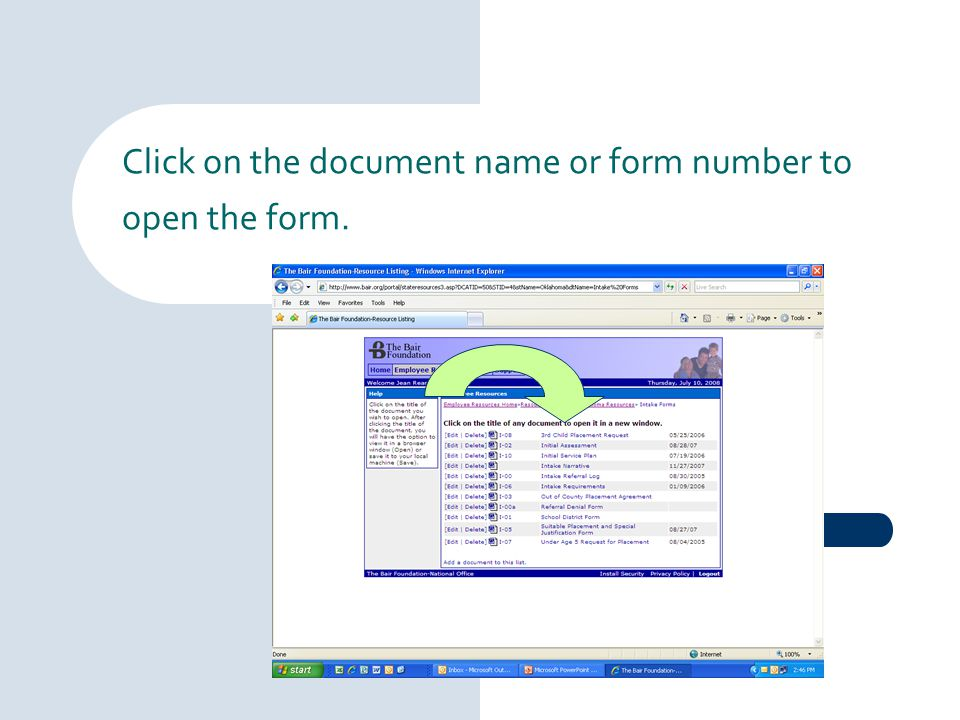 Click on the document name or form number to open the form.