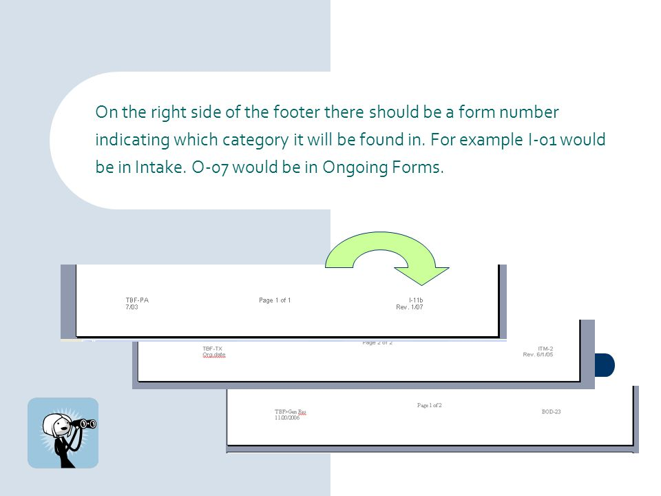 On the right side of the footer there should be a form number indicating which category it will be found in.
