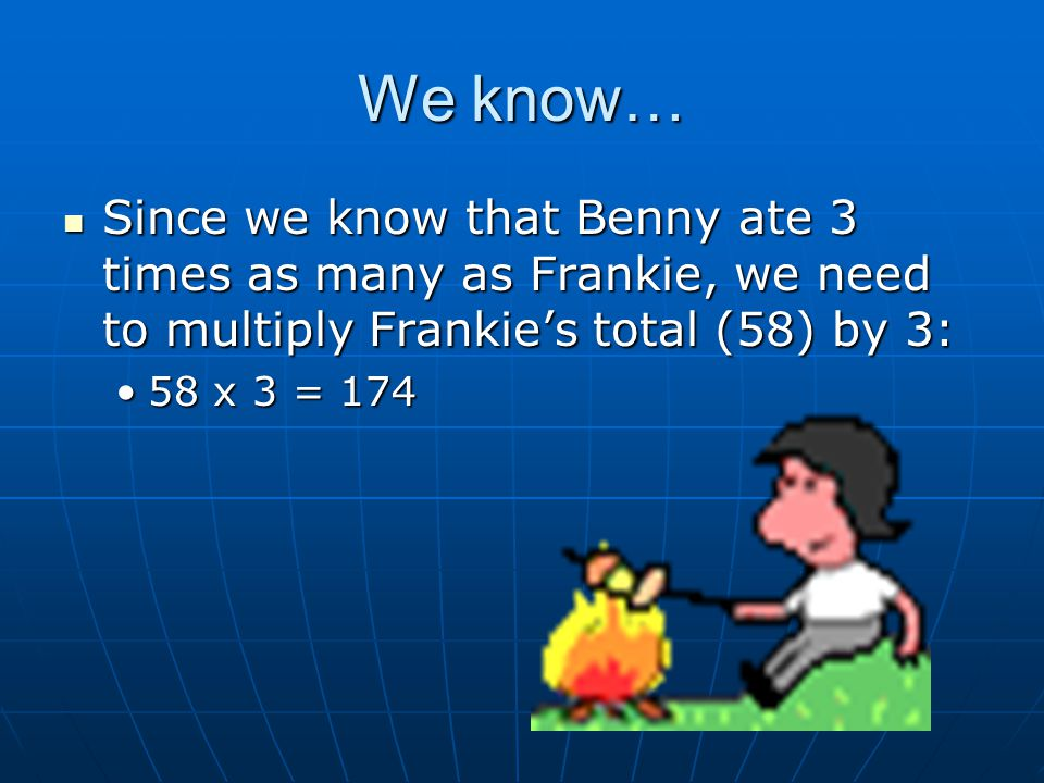 We know… Since we know that Benny ate 3 times as many as Frankie, we need to multiply Frankie's total (58) by 3: