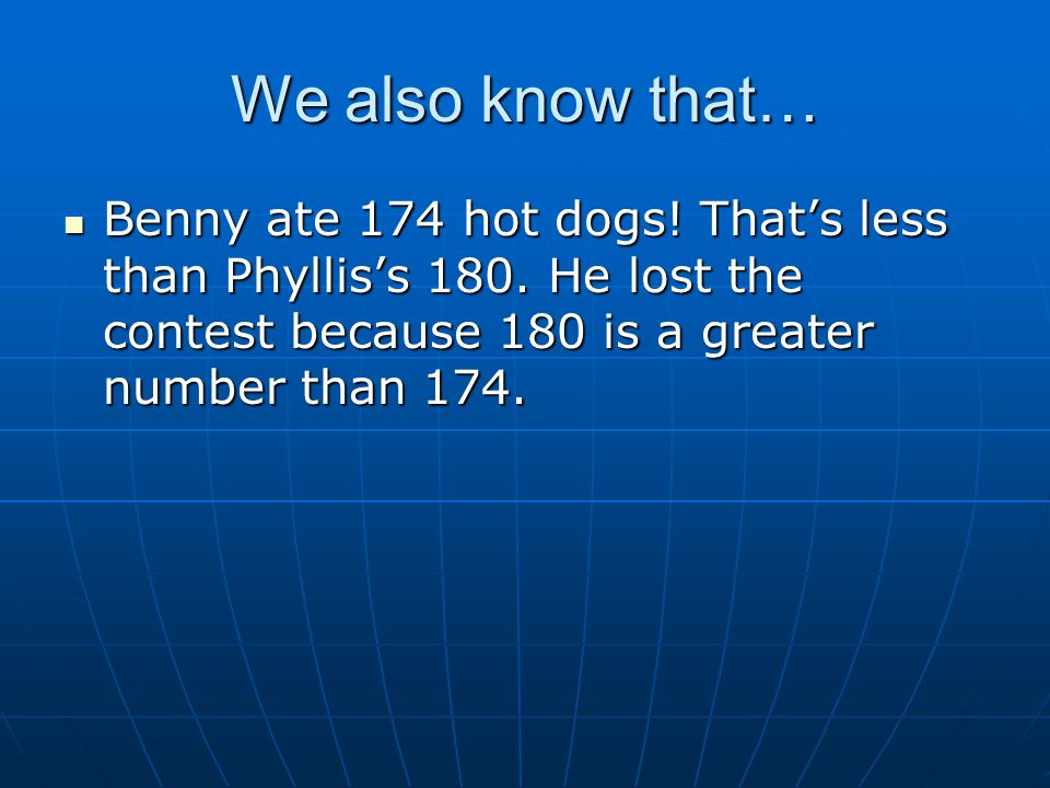 We also know that… Benny ate 174 hot dogs. That's less than Phyllis's 180.
