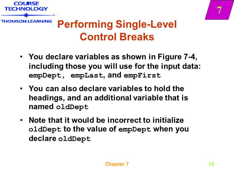 Performing Single-Level Control Breaks