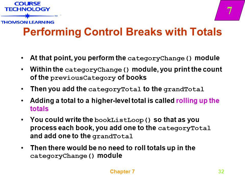 Performing Control Breaks with Totals