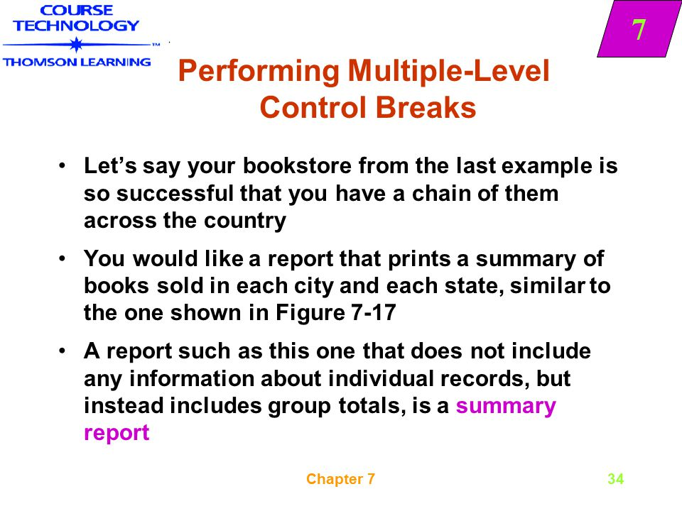 Performing Multiple-Level Control Breaks