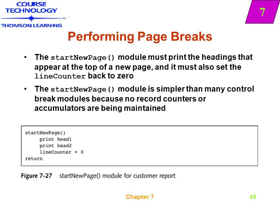 Performing Page Breaks