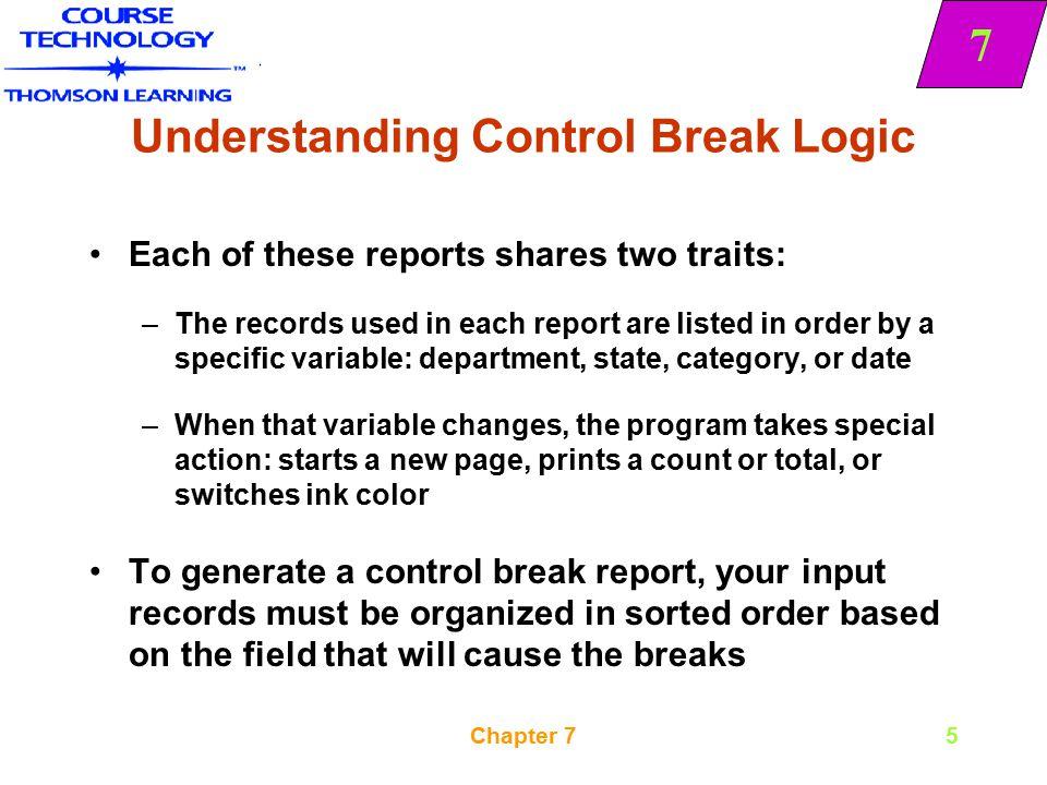 Understanding Control Break Logic
