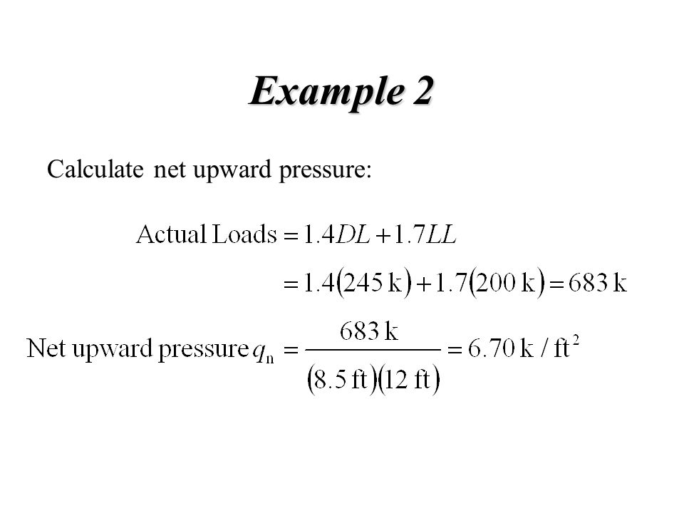 Example 2 Calculate net upward pressure: