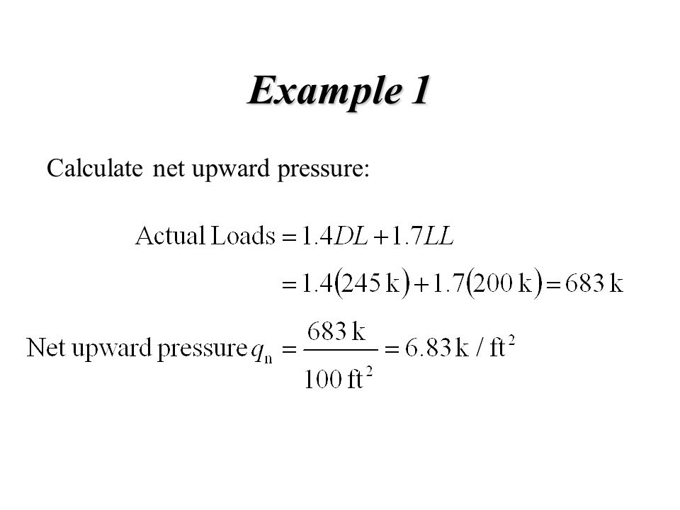 Example 1 Calculate net upward pressure: