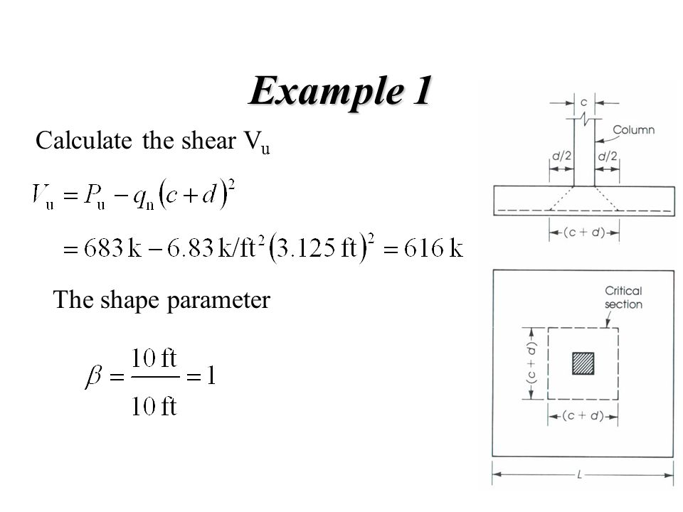 Example 1 Calculate the shear Vu The shape parameter