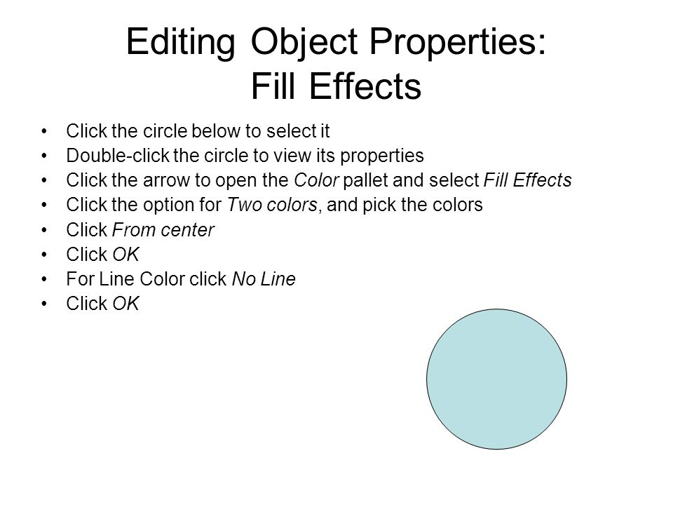 Editing Object Properties: Fill Effects
