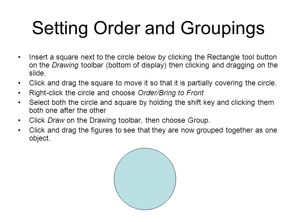 Setting Order and Groupings