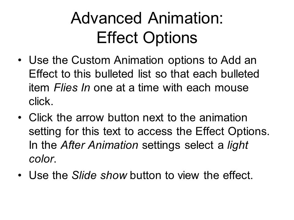 Advanced Animation: Effect Options