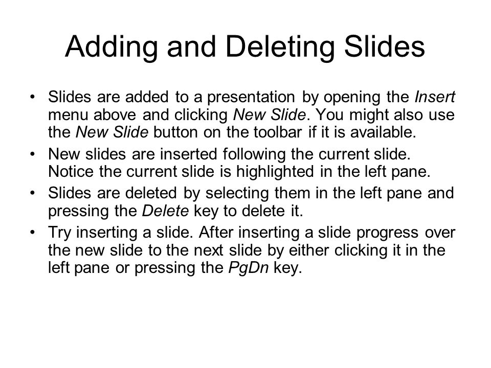 Adding and Deleting Slides