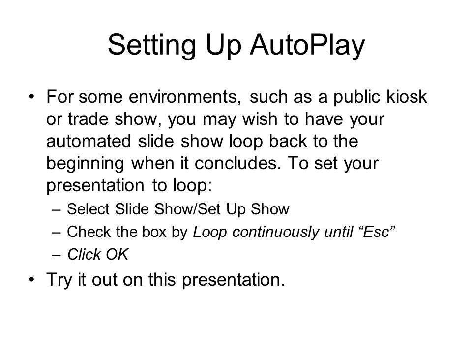 Setting Up AutoPlay