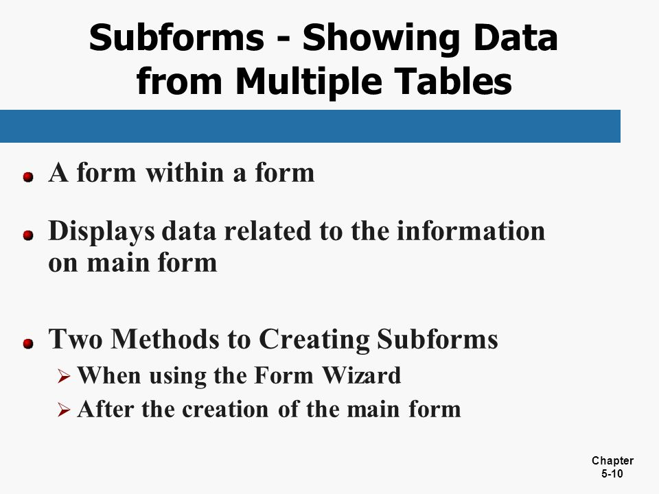 Subforms - Showing Data from Multiple Tables