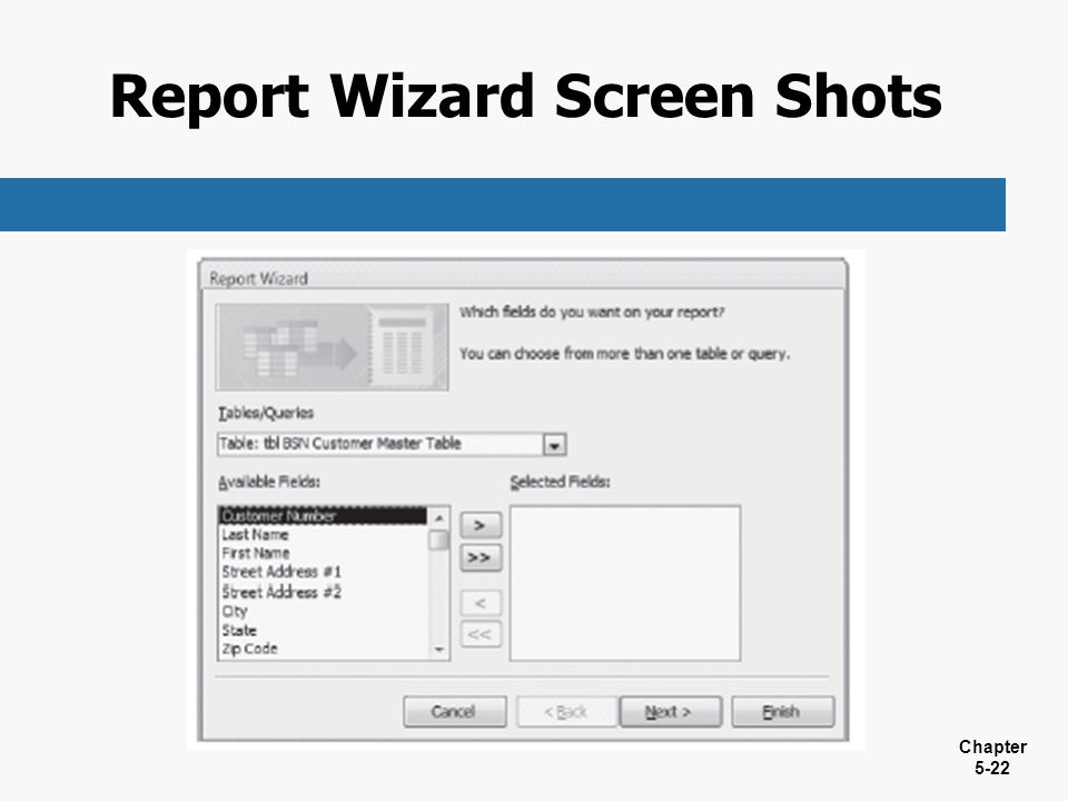 Report Wizard Screen Shots