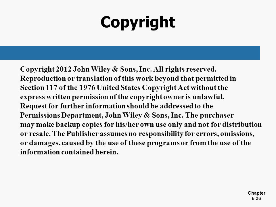 Copyright Copyright 2012 John Wiley & Sons, Inc. All rights reserved.