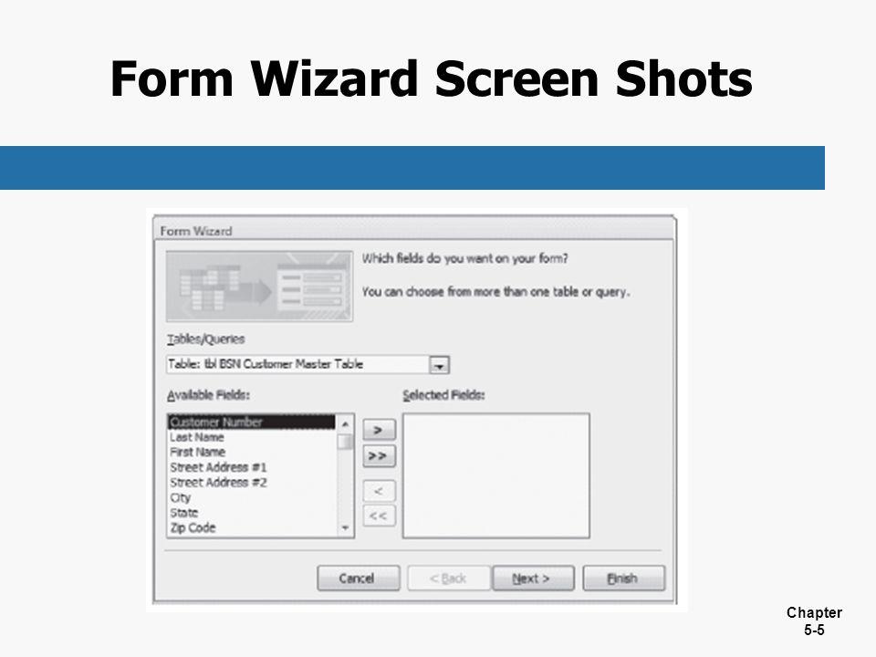Form Wizard Screen Shots
