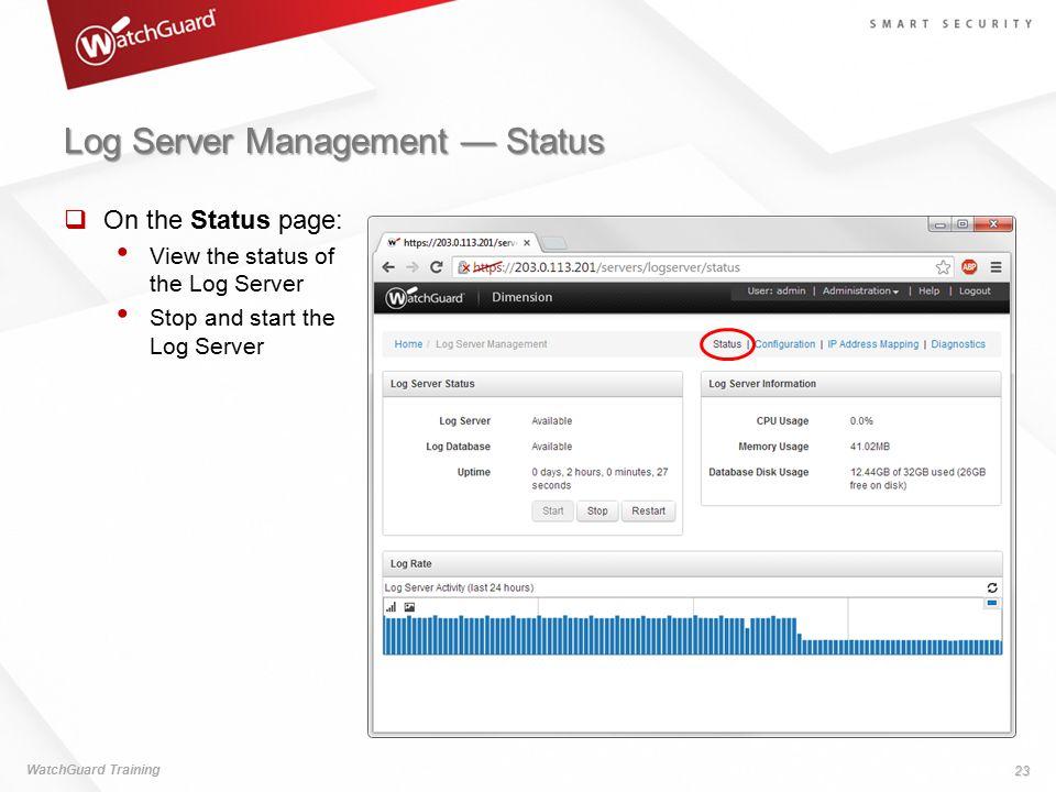 Log Server Management — Status