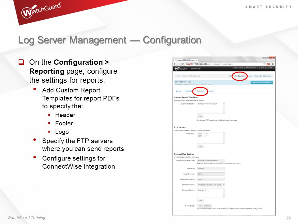 Log Server Management — Configuration
