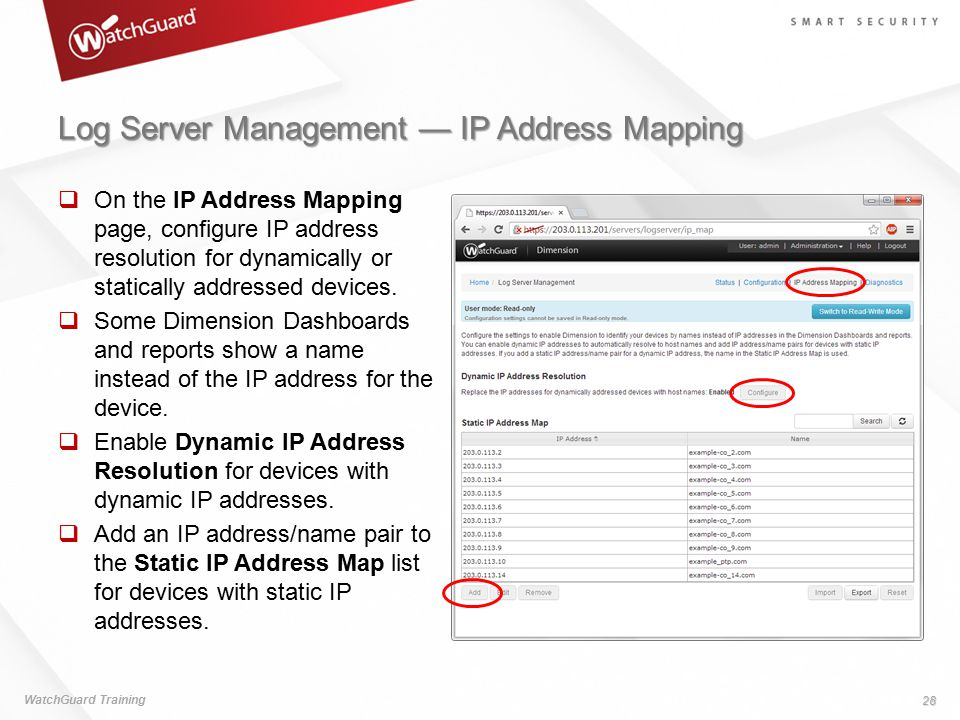 Log Server Management — IP Address Mapping