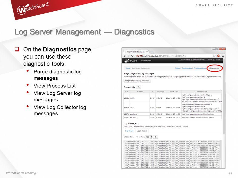 Log Server Management — Diagnostics
