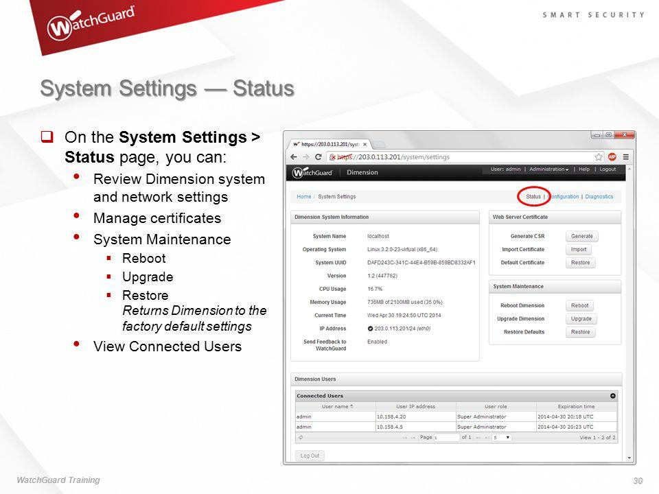 System Settings — Status