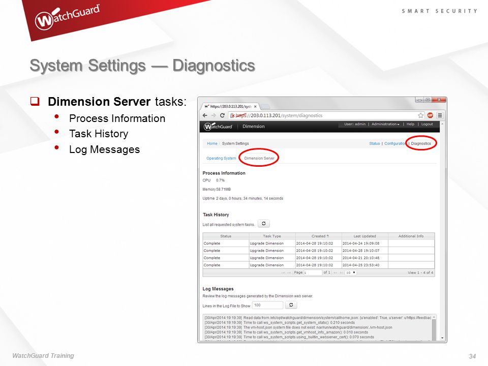 System Settings — Diagnostics