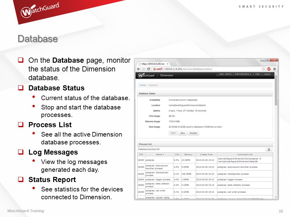 Database On the Database page, monitor the status of the Dimension database. Database Status. Current status of the database.