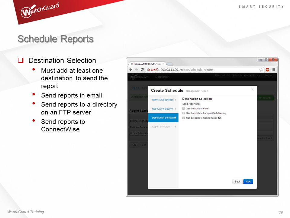 Schedule Reports Destination Selection